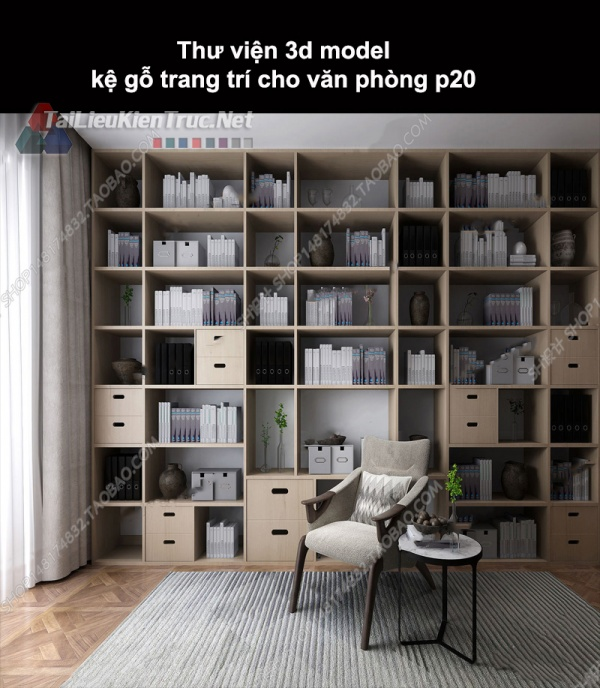Thư viện 3d model kệ gỗ trang trí cho nhà ở, văn phòng P20