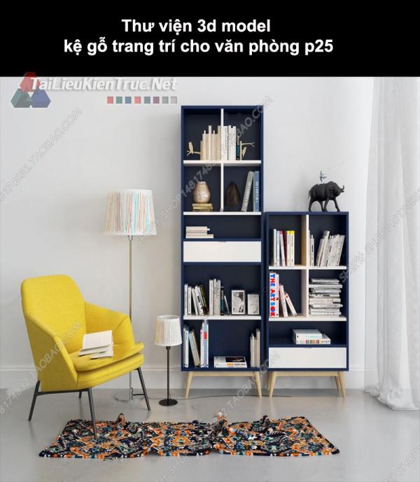 Thư viện 3d model kệ gỗ trang trí cho nhà ở, văn phòng P25