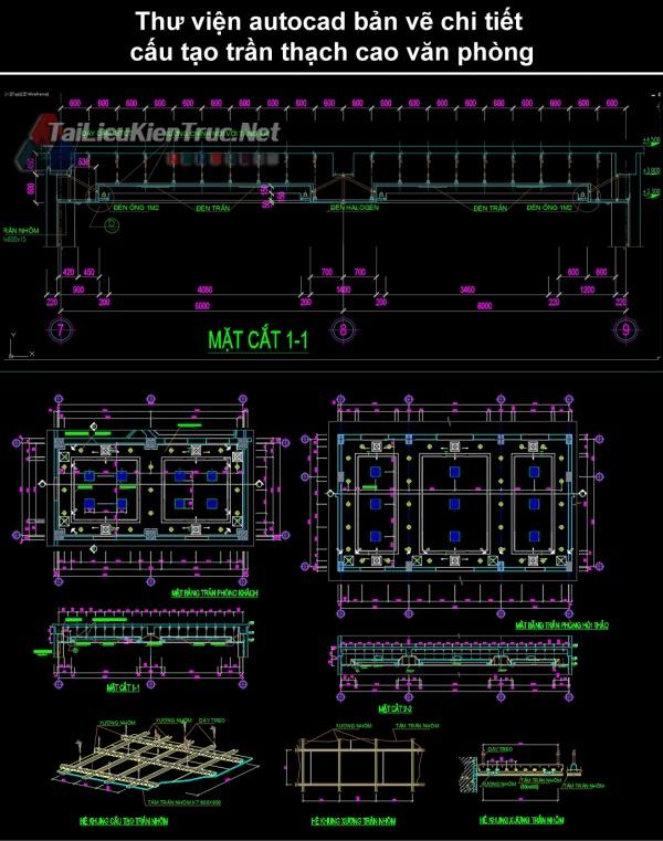 Thư viện autocad bản vẽ chi tiết cấu tạo trần thạch cao văn phòng