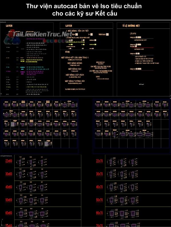 Thư viện autocad bản vẽ Iso tiêu chuẩn cho các kỹ sư Kết cấu miễn phí download