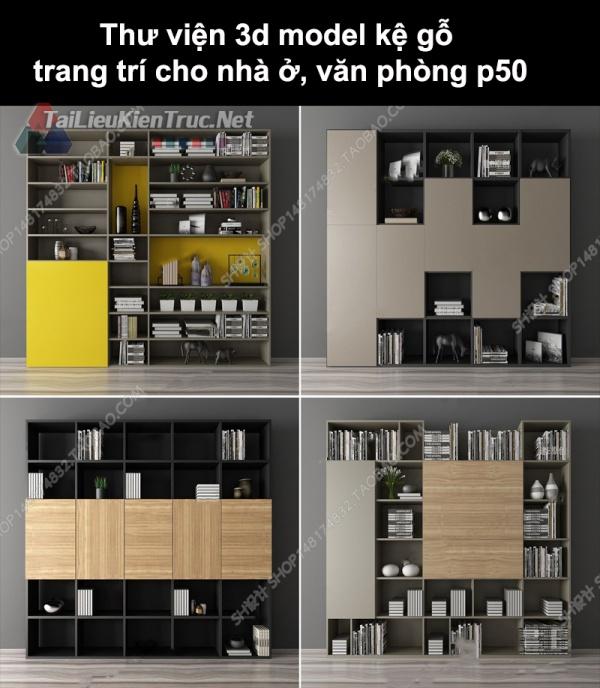 Thư viện 3d model kệ gỗ trang trí cho nhà ở, văn phòng P50