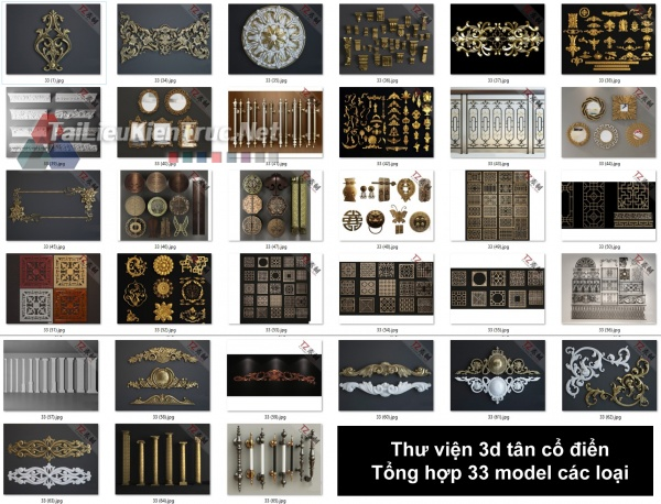 Thư viện 3d tân cổ điển Tổng hợp 33 model các loại