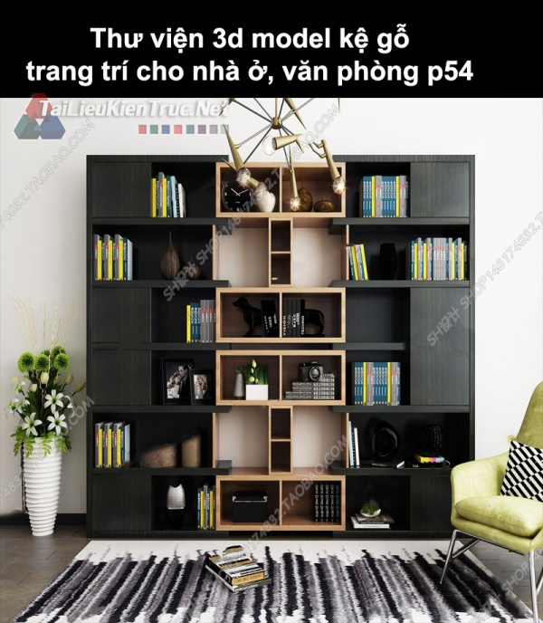 Thư viện 3d model kệ gỗ trang trí cho nhà ở, văn phòng P54
