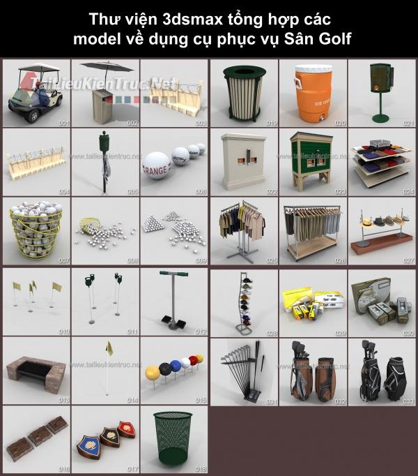 Thư viện 3dsmax tổng hợp các model về dụng cụ phục vụ Sân Golf
