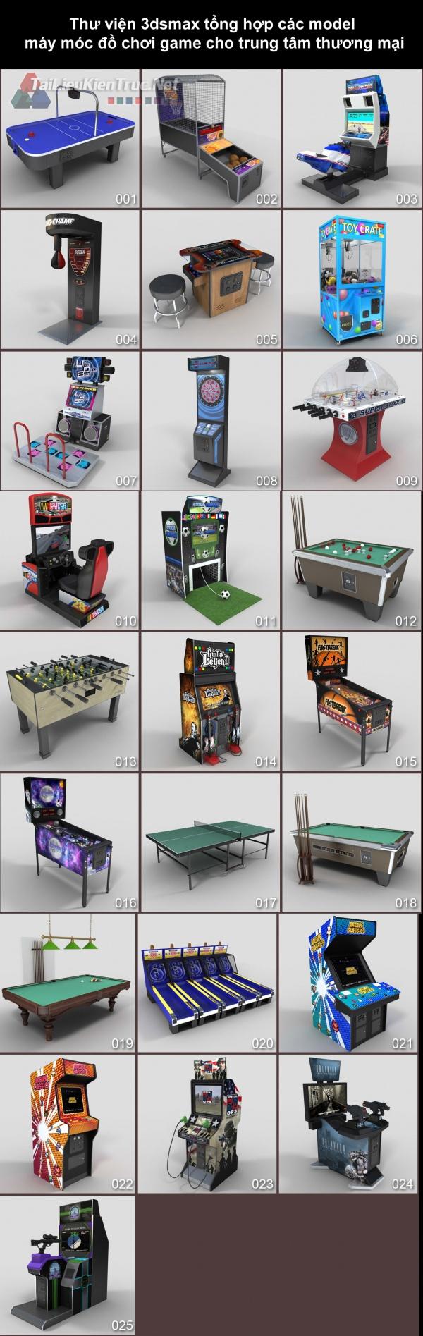 Thư viện 3dsmax tổng hợp các model máy móc đồ chơi game cho trung tâm thương mại