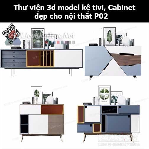 Thư viện 3d model Kệ tivi, Cabinet đẹp cho nội thất P02
