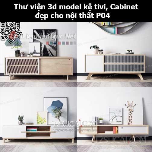 Thư viện 3d model Kệ tivi, Cabinet đẹp cho nội thất P04