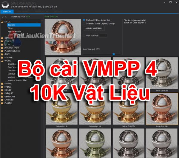 Bộ cài VMPP - Plugins tạo vật liệu trong 3dsmax - SIGERSHADERS V-Ray Material Presets Pro 4