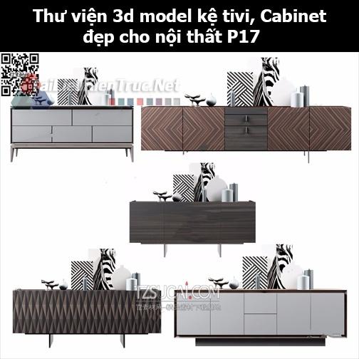Thư viện 3d model Kệ tivi, Cabinet đẹp cho nội thất P17