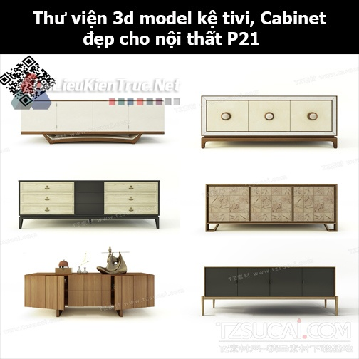 Thư viện 3d model Kệ tivi, Cabinet đẹp cho nội thất P21