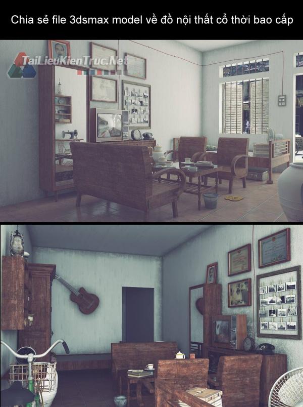 Chia sẻ file 3dsmax model về đồ nội thất cổ thời bao cấp