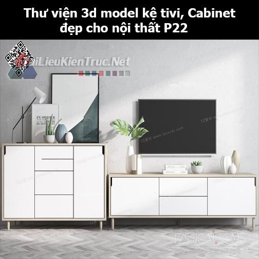 Thư viện 3d model Kệ tivi, Cabinet đẹp cho nội thất P22