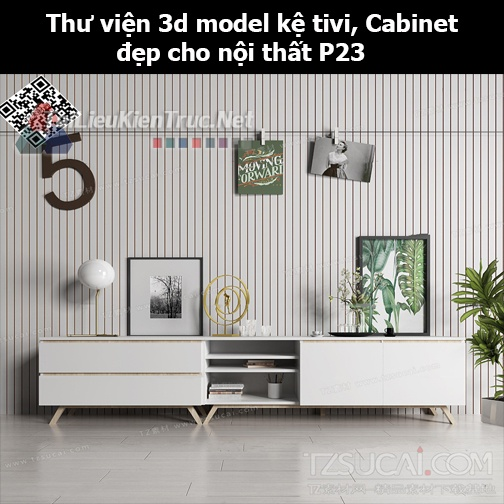 Thư viện 3d model Kệ tivi, Cabinet đẹp cho nội thất P23