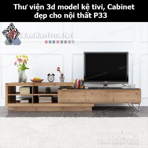 Thư viện 3d model Kệ tivi, Cabinet đẹp cho nội thất P33