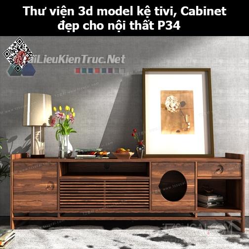 Thư viện 3d model Kệ tivi, Cabinet đẹp cho nội thất P34
