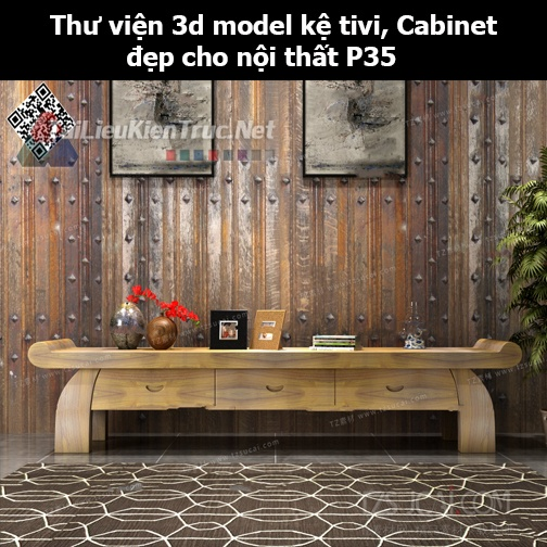 Thư viện 3d model Kệ tivi, Cabinet đẹp cho nội thất P35