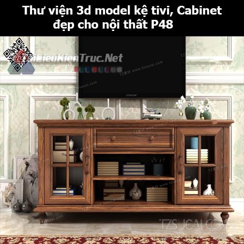 Thư viện 3d model Kệ tivi, Cabinet đẹp cho nội thất P48