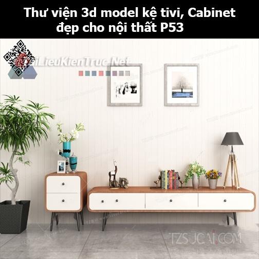 Thư viện 3d model Kệ tivi, Cabinet đẹp cho nội thất P53