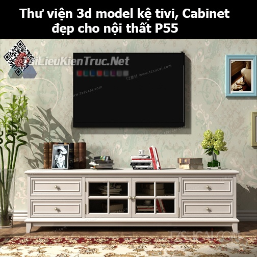 Thư viện 3d model Kệ tivi, Cabinet đẹp cho nội thất P55