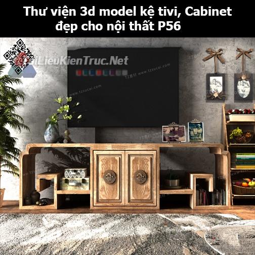 Thư viện 3d model Kệ tivi, Cabinet đẹp cho nội thất P56