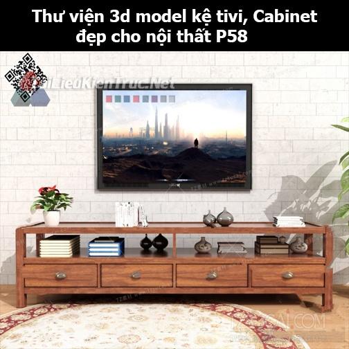 Thư viện 3d model Kệ tivi, Cabinet đẹp cho nội thất P58