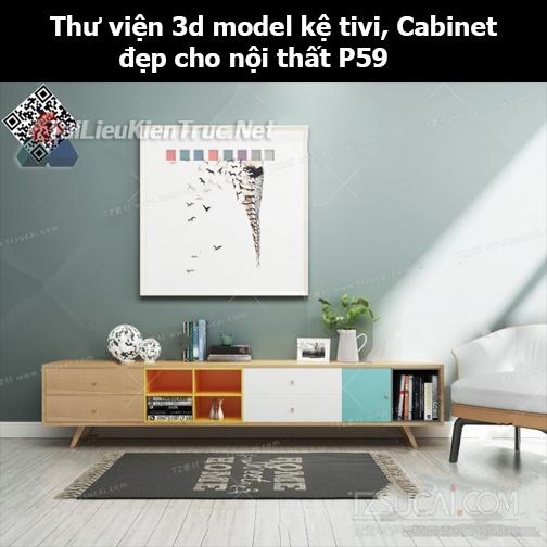 Thư viện 3d model Kệ tivi, Cabinet đẹp cho nội thất P59