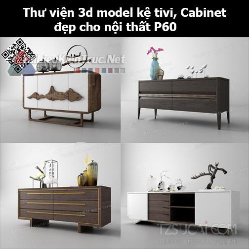 Thư viện 3d model Kệ tivi, Cabinet đẹp cho nội thất P60