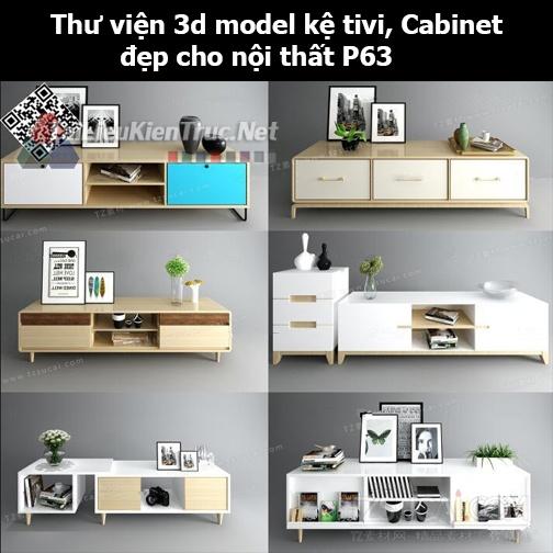 Thư viện 3d model Kệ tivi, Cabinet đẹp cho nội thất P63