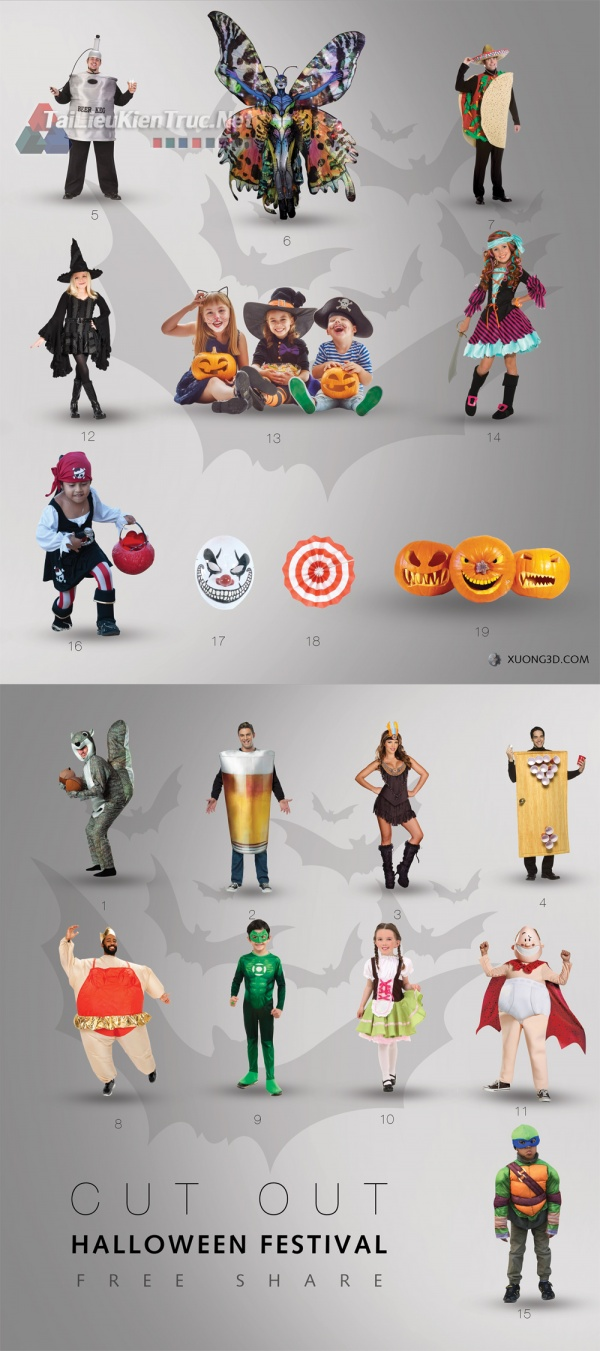Thư viện photoshop CUT OUT HALLOWEEN FESTIVAL free download