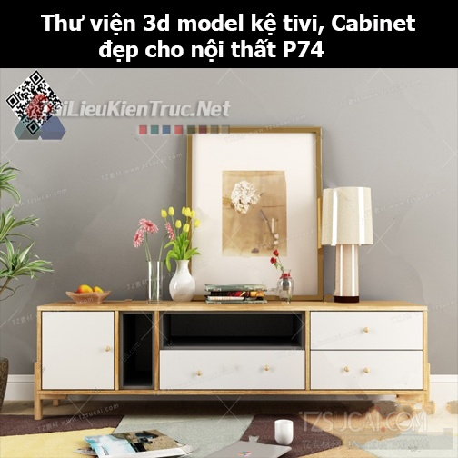 Thư viện 3d model Kệ tivi, Cabinet đẹp cho nội thất P74