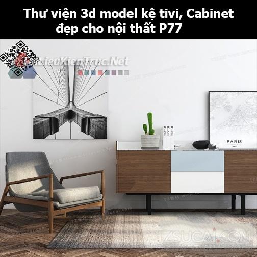 Thư viện 3d model Kệ tivi, Cabinet đẹp cho nội thất P77