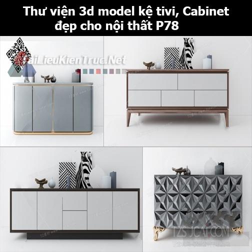 Thư viện 3d model Kệ tivi, Cabinet đẹp cho nội thất P78
