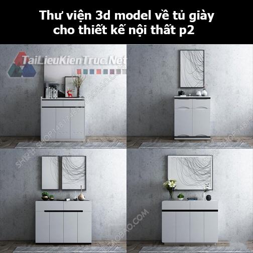 Thư viện 3d model về tủ giày cho thiết kế nội thất p2