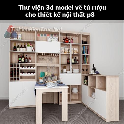 Thư viện 3d model về tủ rượu cho thiết kế nội thất p8