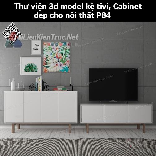 Thư viện 3d model Kệ tivi, Cabinet đẹp cho nội thất P84