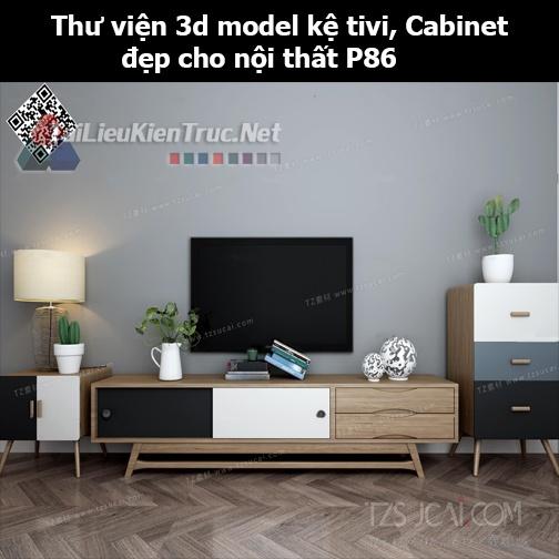 Thư viện 3d model Kệ tivi, Cabinet đẹp cho nội thất P86