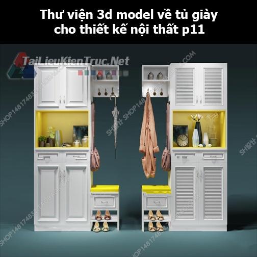 Thư viện 3d model về tủ giày cho thiết kế nội thất p11