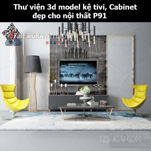 Thư viện 3d model Kệ tivi, Cabinet đẹp cho nội thất P91