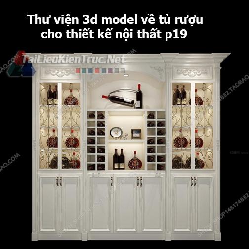 Thư viện 3d model về tủ rượu cho thiết kế nội thất p19