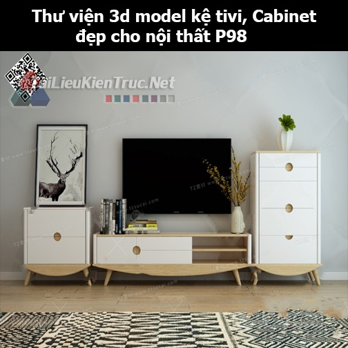 Thư viện 3d model Kệ tivi, Cabinet đẹp cho nội thất P98