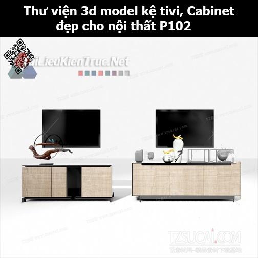 Thư viện 3d model Kệ tivi, Cabinet đẹp cho nội thất P102