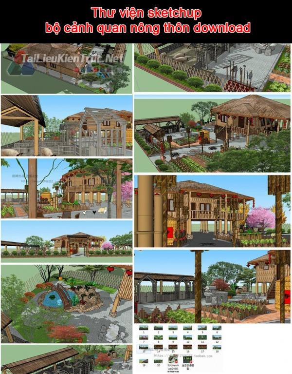 Thư viện sketchup bộ cảnh quan nông thôn download