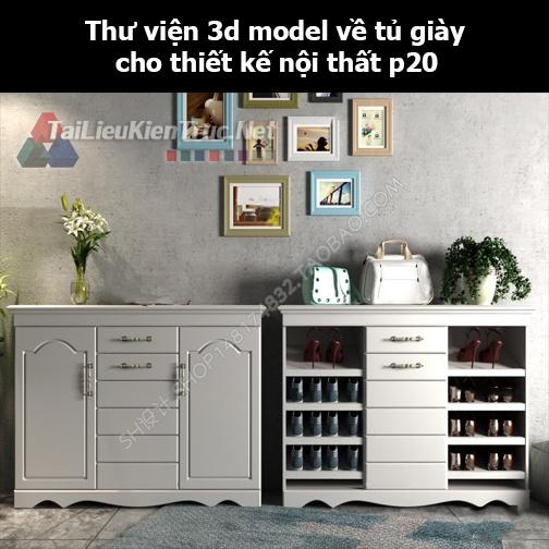 Thư viện 3d model về tủ giày cho thiết kế nội thất p20