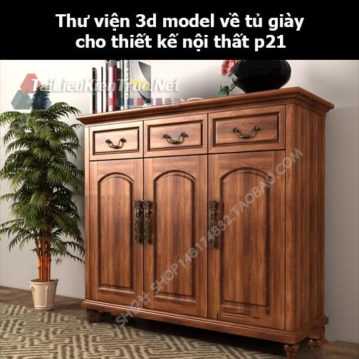 Thư viện 3d model về tủ giày cho thiết kế nội thất p21