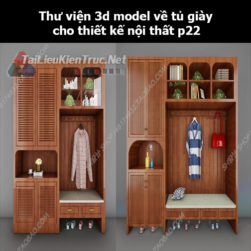 Thư viện 3d model về tủ giày cho thiết kế nội thất p22