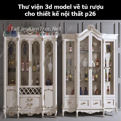 Thư viện 3d model về tủ rượu cho thiết kế nội thất p26