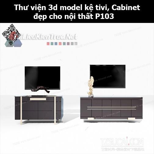 Thư viện 3d model Kệ tivi, Cabinet đẹp cho nội thất P103