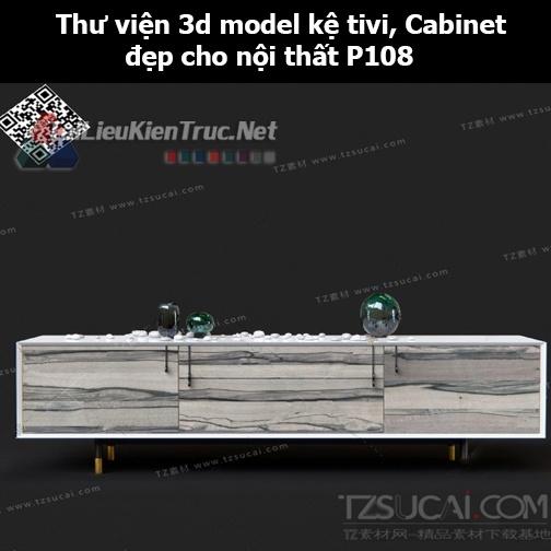 Thư viện 3d model Kệ tivi, Cabinet đẹp cho nội thất P108