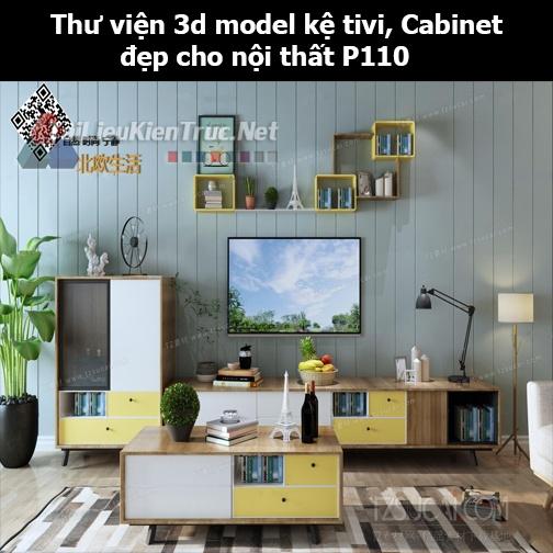 Thư viện 3d model Kệ tivi, Cabinet đẹp cho nội thất P110
