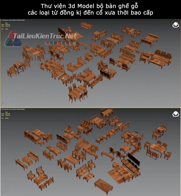 Thư viện 3d Model bộ bàn ghế gỗ các loại từ đồng kị đến cổ xưa thời bao cấp